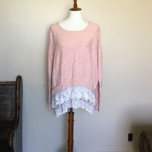 Mossimo Supply Co. Pink Sweater with Lace Hem